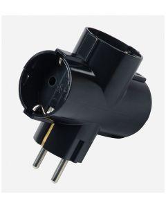 Trostruki T razdelnik 16A 250V crni