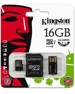 MobilityKit MicroSD16GB Class10+SDadapter+USBcitac Kingston